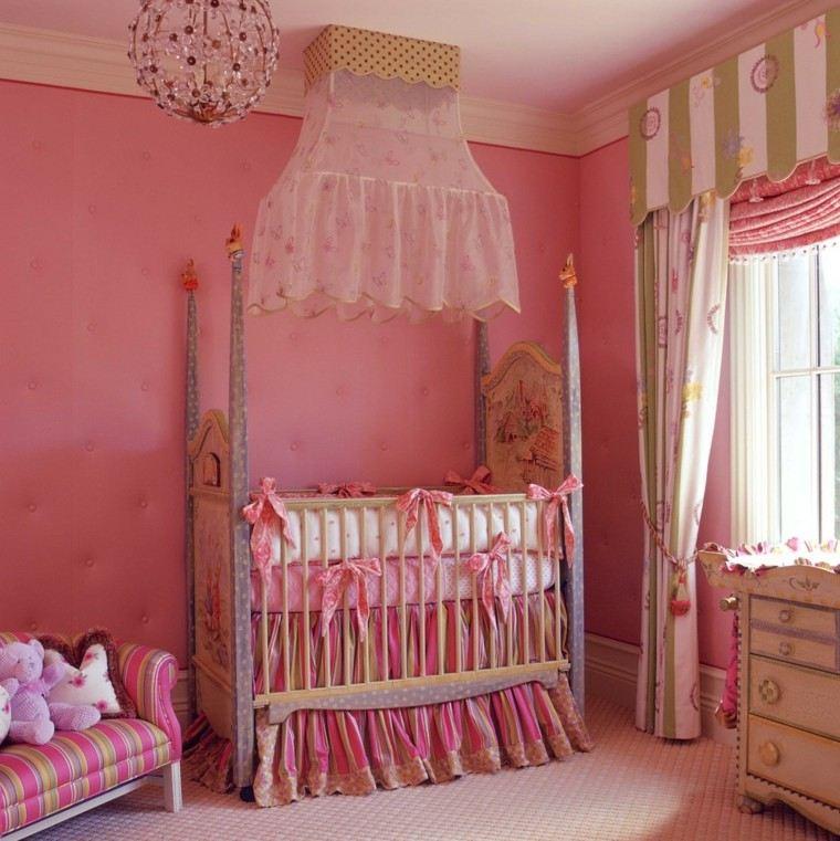 rosa cuna lampara cortina cuna