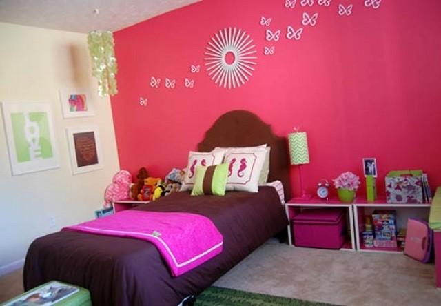 rosa mariposas pared niñas pared cojines