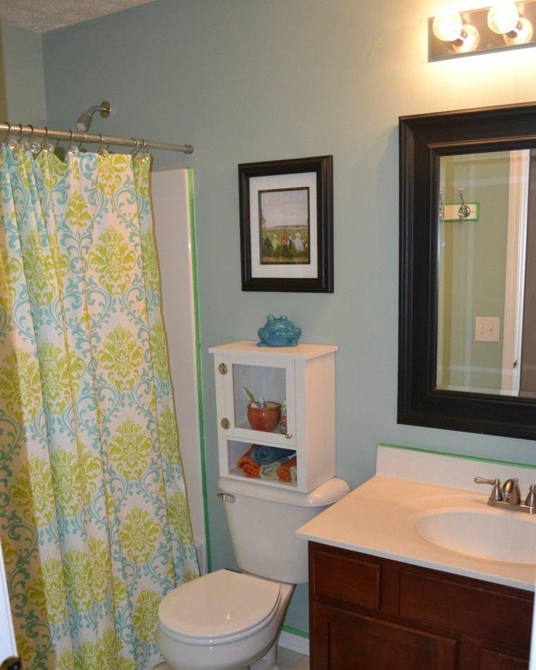rustico baño cortina cuadros espejo mueble