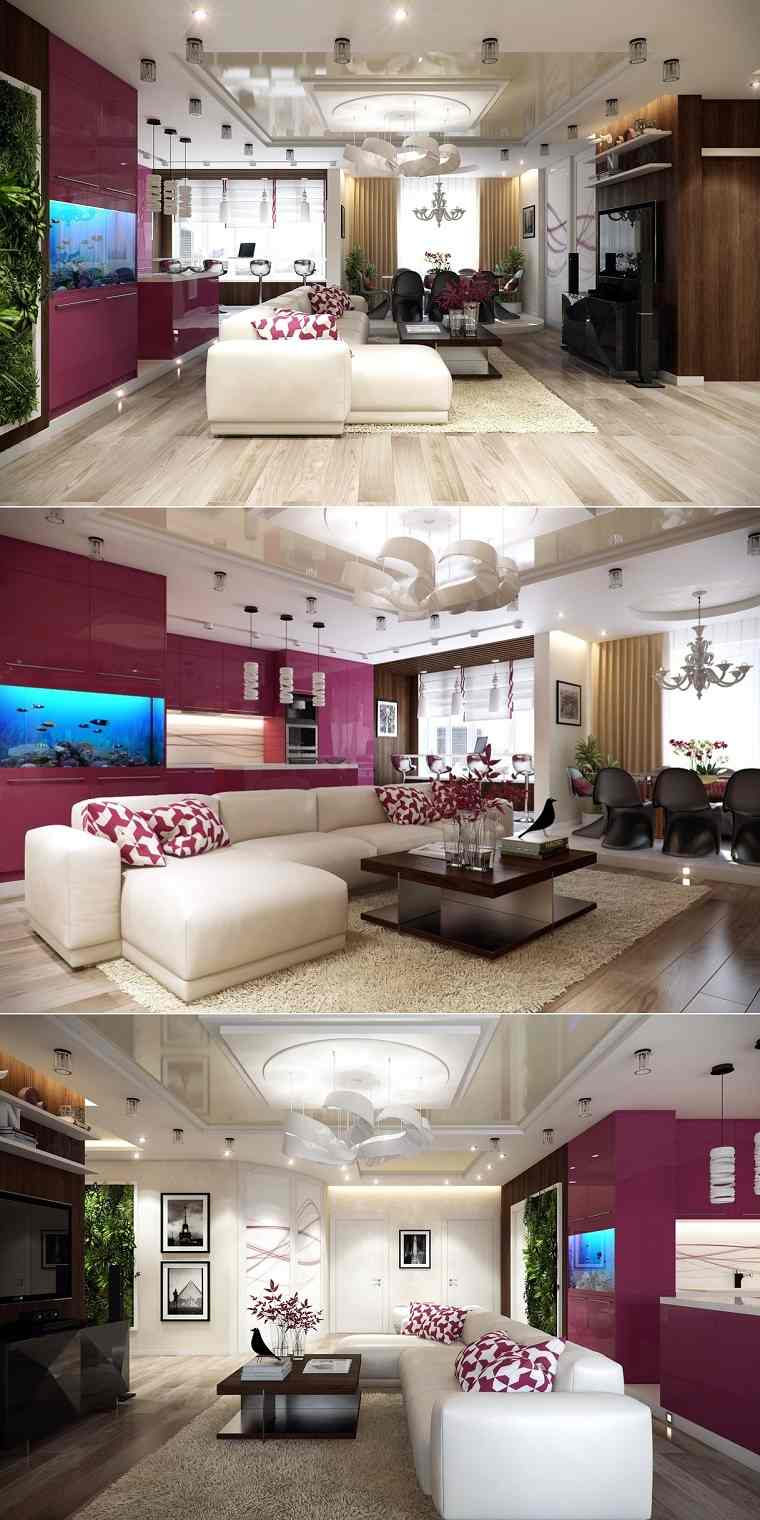 sala estar amplia purpura cojines diseño lampara interesante diseño