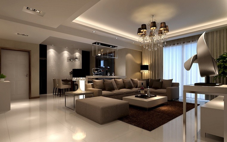 sala estar estilo clasico beige muebles pared ideas