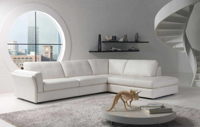 Contemporáneo Muebles De Sala Sofá De Cuero Blanco Bosquejo ...