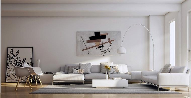 sala estar moderna amplia blanca ideas originales diseño