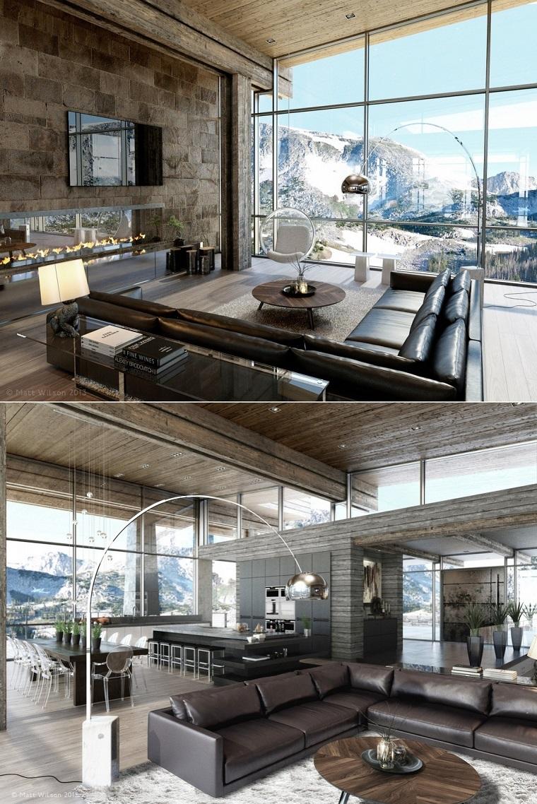 sala estar moderna espaciosa sofa cuero diseño abierta