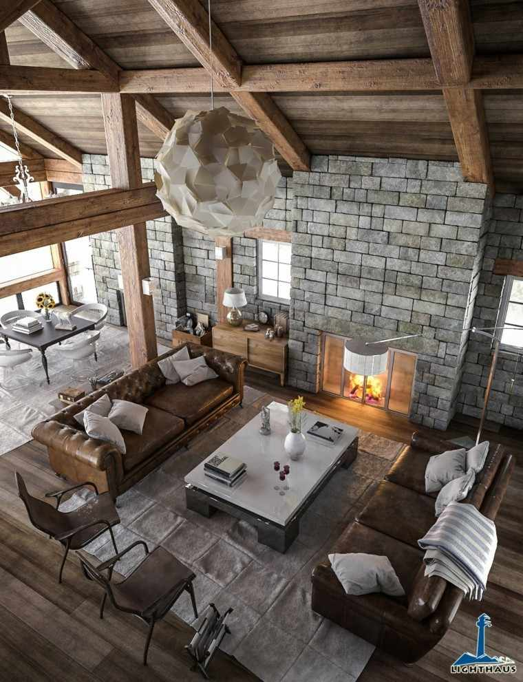 sala estar diseño moderna estilo rustico muebles cuero