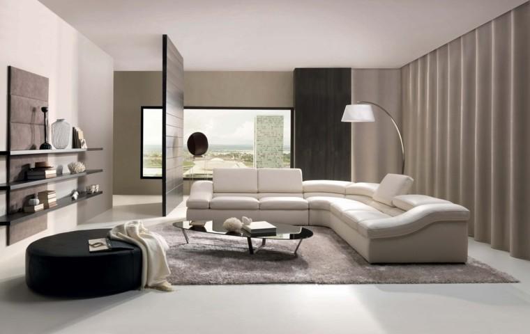 sala estar moderna taburete redondo grande negro diseño