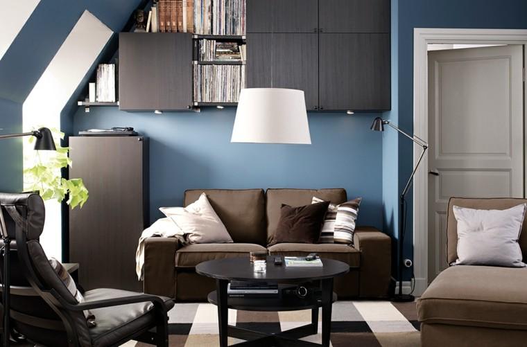 sala estar pared azul marino