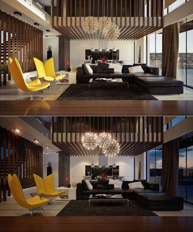 sala estar sillas modernas amarillo vibrante sofa cuero diseño negro