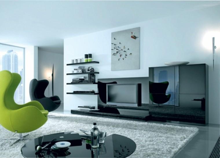 sala estar sillas modernas verde negro idea diseño