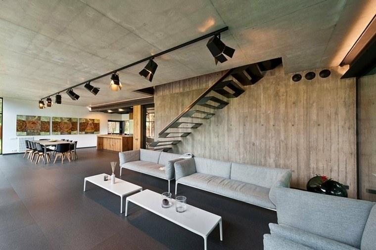 sala salón industrial escaleras modernas