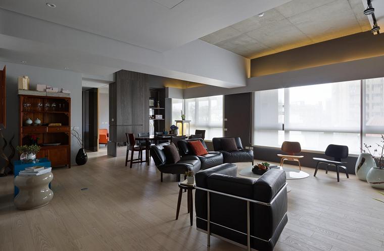 salon amplio luminoso ideas naturaleza madera moderno cuero