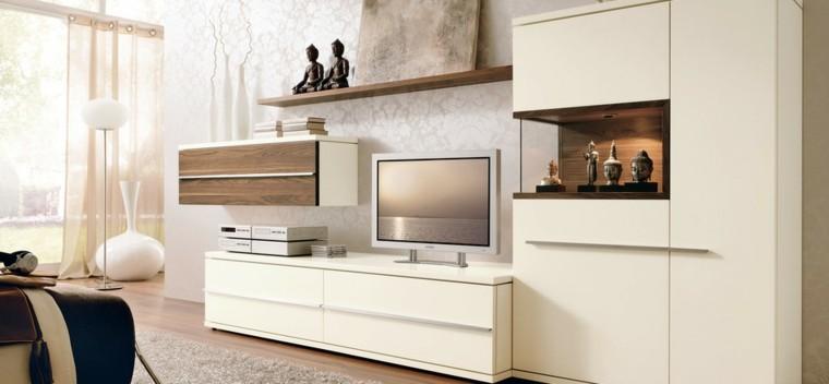 salon blanco moderno jarrones blancos ideas decoracion