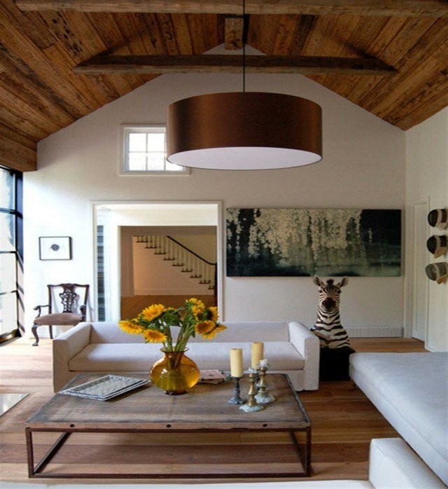 salon diseño bonito decoracion techo madera