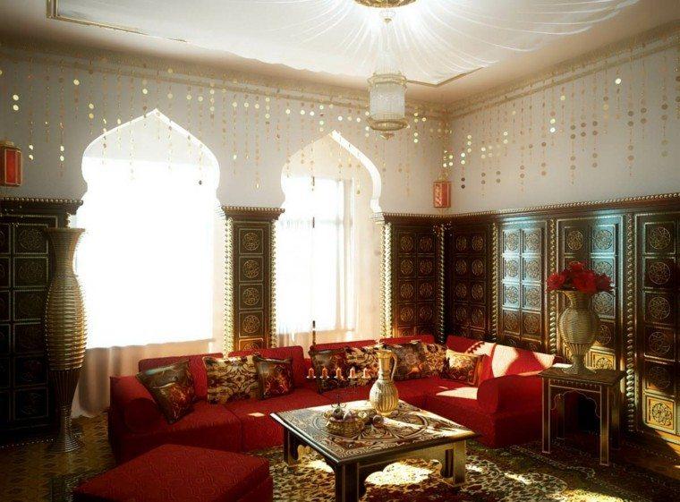 salon estilo marroqui sofa rojo ideas casa idea