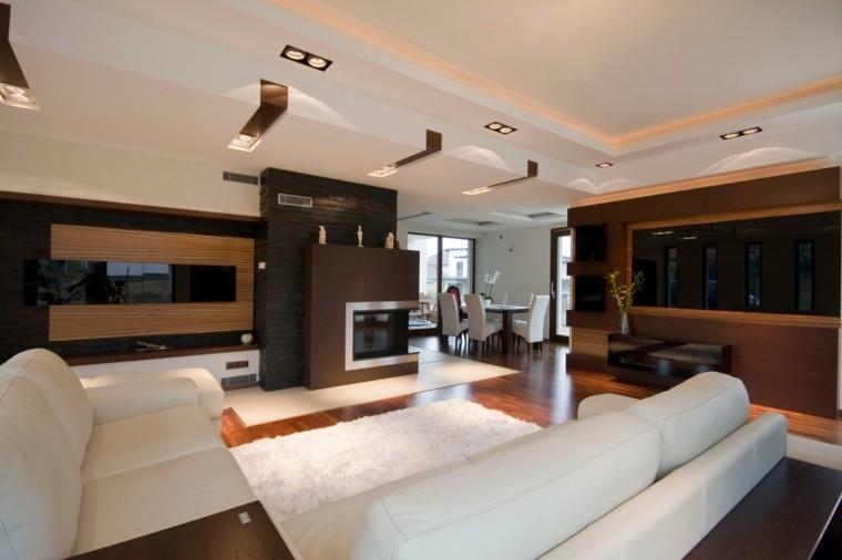 salon exclusivo amplio moderno ideas diseño chimenea