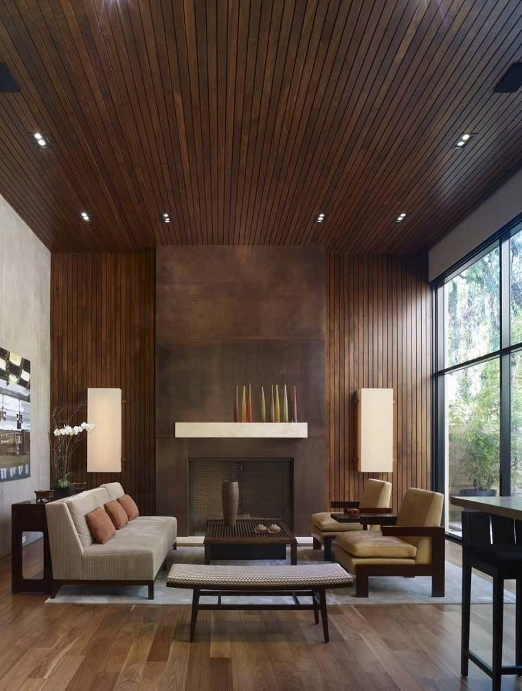 salon madera diseño led techo