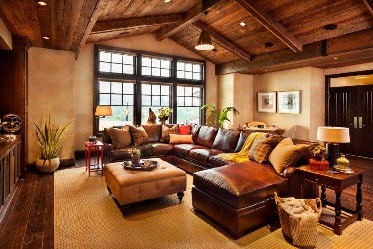 salon techo madera soltero sofa