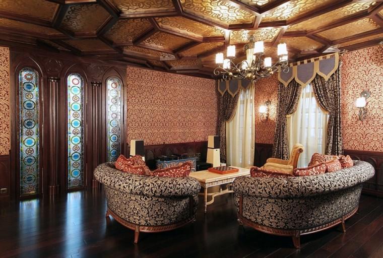 salon marroqui ideas colores estampas pared cristales