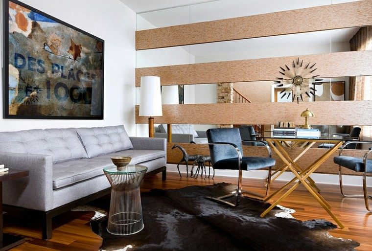 salon masculino cuero madera mesa
