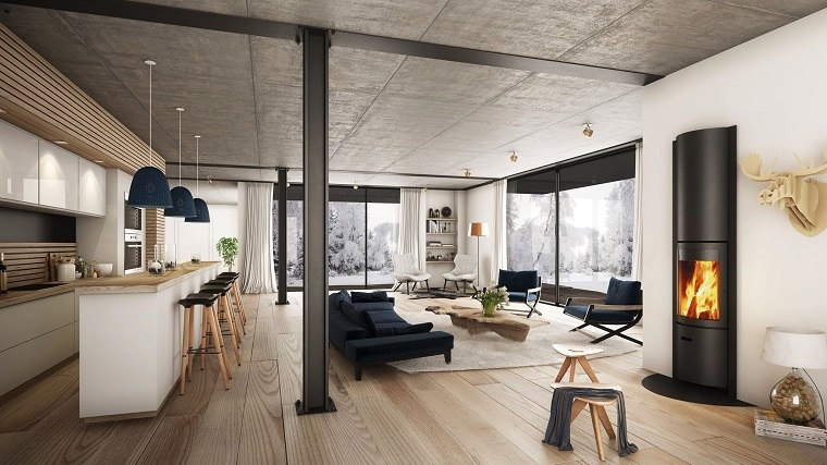 salon moderno abierto barra chimenea luminoso diseño