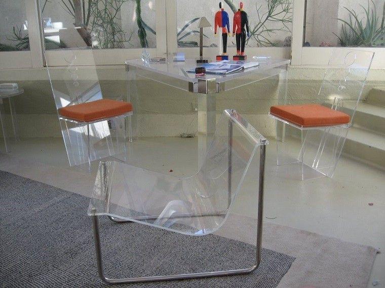salon moderno acrilico diseño sillas