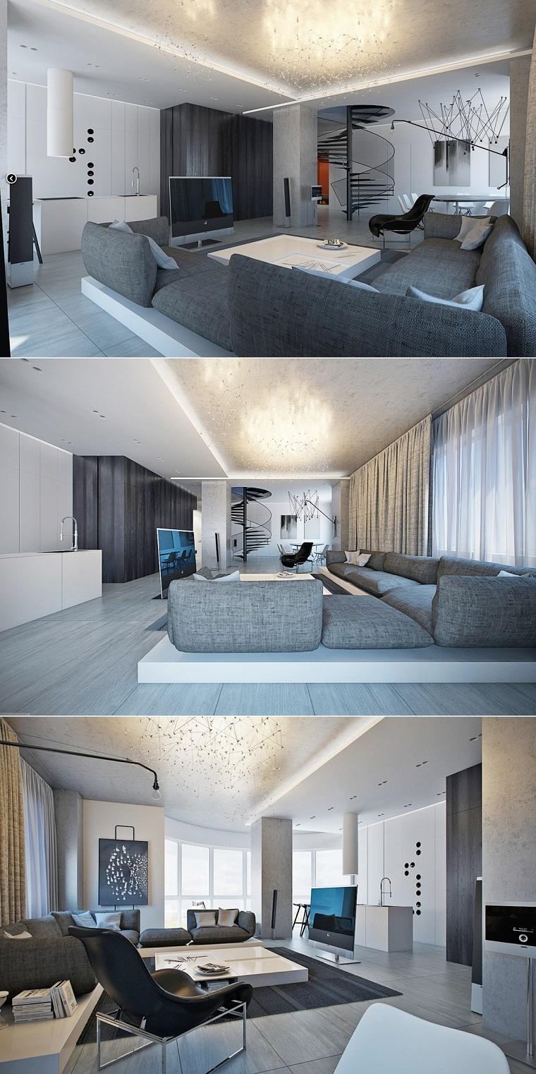 salon moderno amplio dos niveles sofa comodo ideasgris
