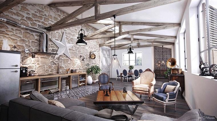 salon moderno estilo rustico muebles comodos diseño