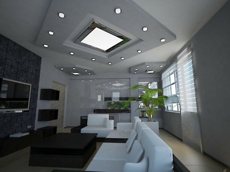 Iluminaci n led 75 ideas incre bles para el hogar - Focos para salon ...
