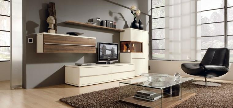 salon moderno luminoso espacioso butaca cuero negro ideas