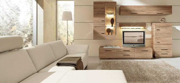 salon moderno luminoso mueble madera ideas