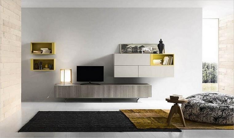 Muebles tv y bibliotecas para el sal n o sala de estar for Mueble salon minimalista