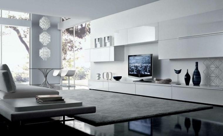 salon estilo moderno mueble largo blanco