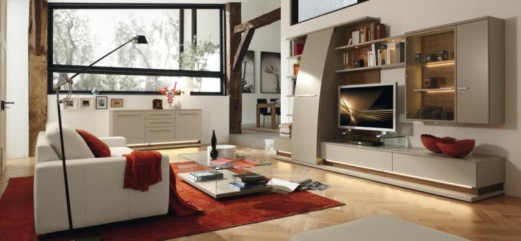 salon moderno muebles blancos alfombra roja ideas