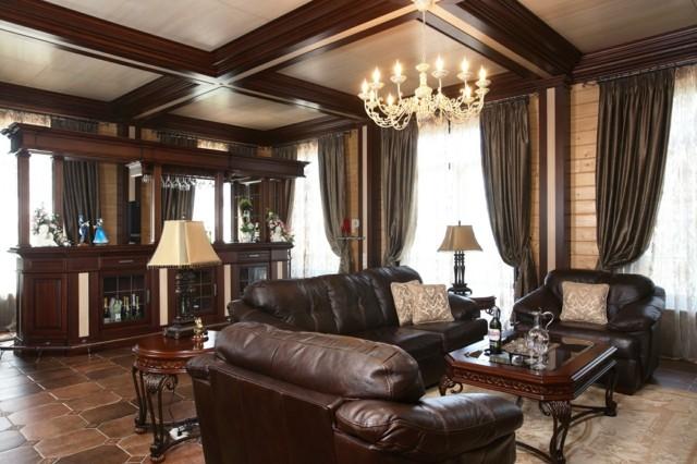 salon diseño moderno muebles cuero techo madera