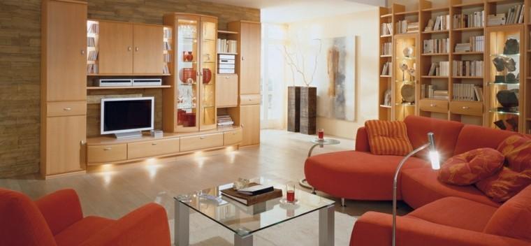 salon moderno muebles naranja vibrante ideas
