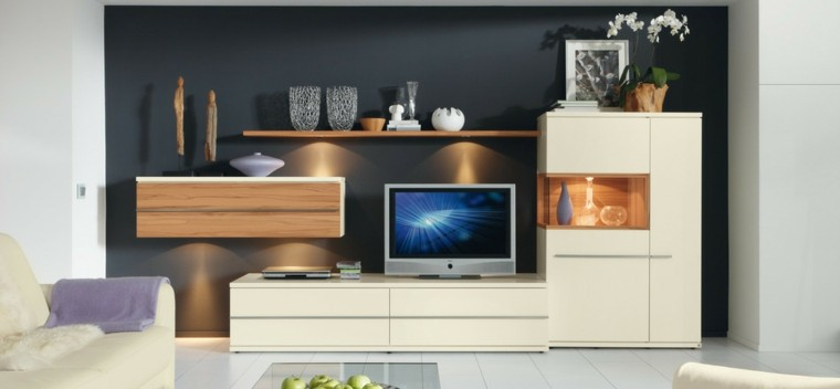 salon moderno pared negra muebles ideas blancos