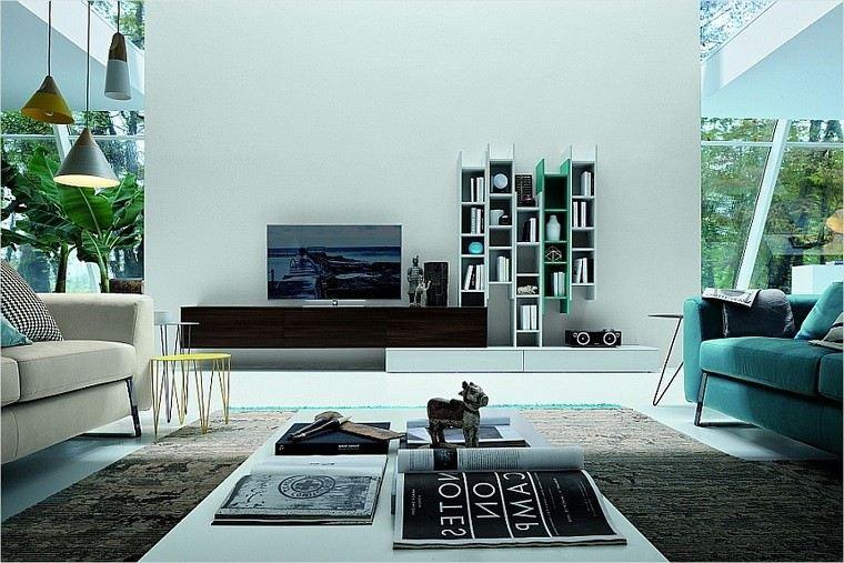 salon mueble tv largo madera