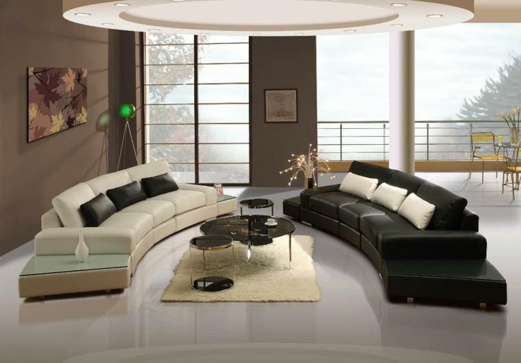 salon moderno sofas cuero blanco negro diseño