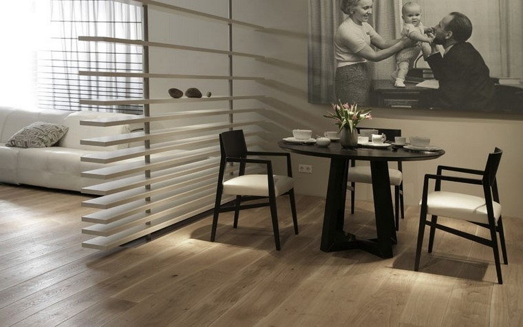 salon moderno suelo madera curvada diseño