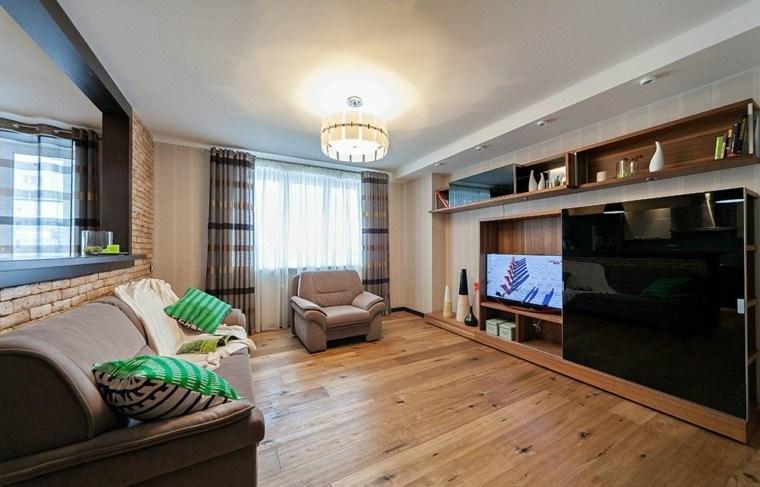 Sala de estar para apartamento de soltero todo un lujo Salones modernos para pisos pequenos