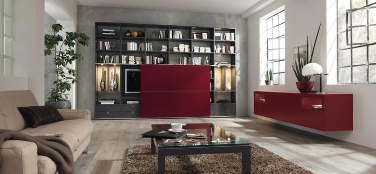 salon moderno toques rojo vibrante idea atrevida diseño