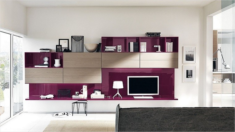 Muebles tv y bibliotecas para el sal n o sala de estar for Decoracion mueble tv