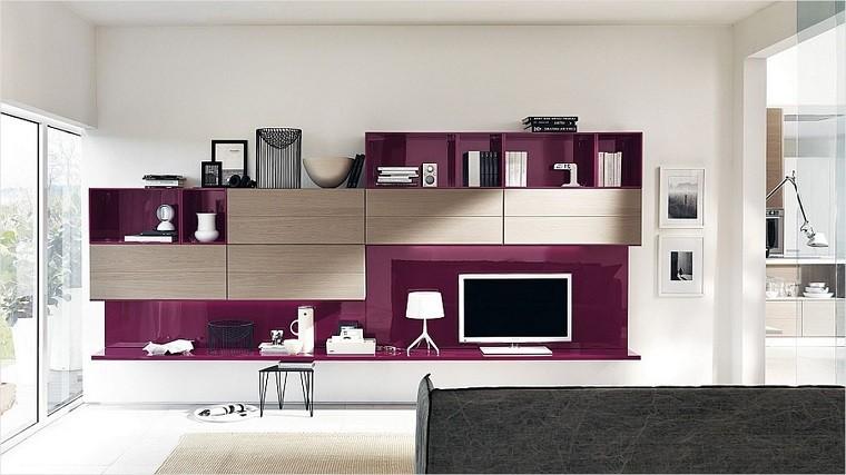 mueble tv color violeta