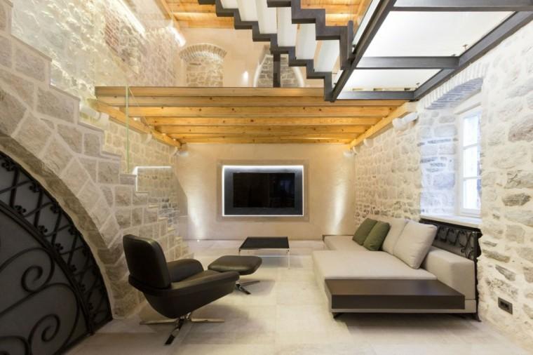 salon muebles madera rocas metal