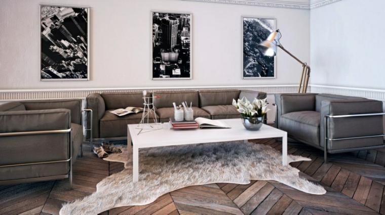salon suelo parquet sillones grises