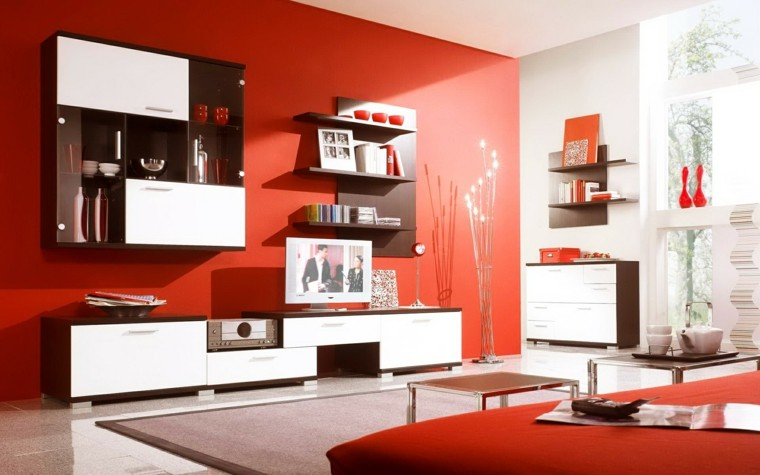 salon rojo brillante estilo moderno