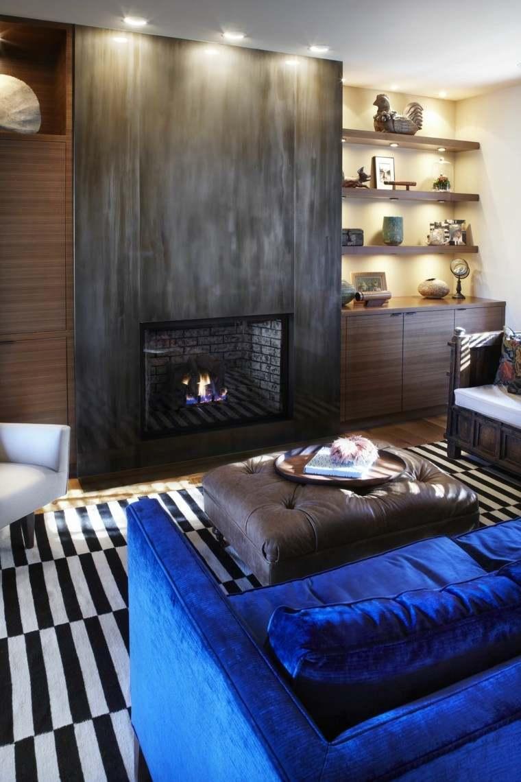 salon sofa alfombras chimenea focal