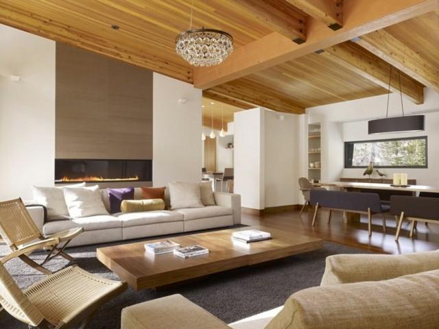 salon techo mesilla diseño madera combinacion