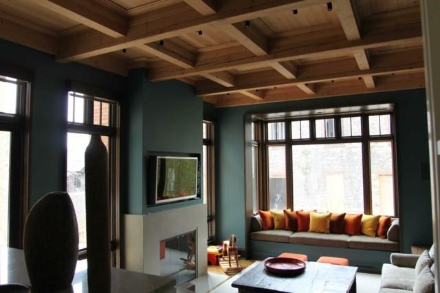 salon ventanal cuadrados luminoso techo madera