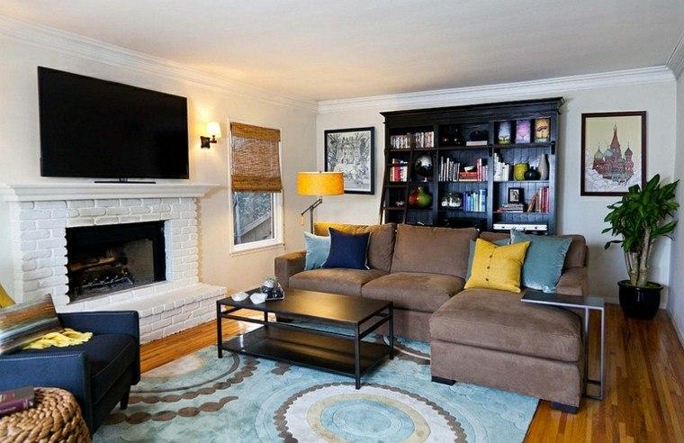 salones de diseño madera amarillo cojines